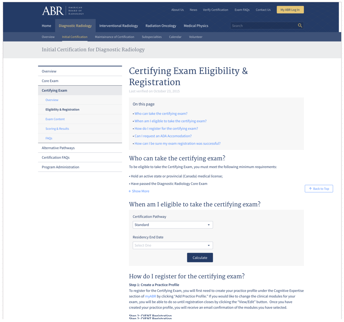 D Certifying Exam Eligibility Registration The American