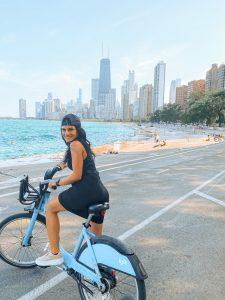 Hala Mazin, MD, often rides her bike to work in Chicago.